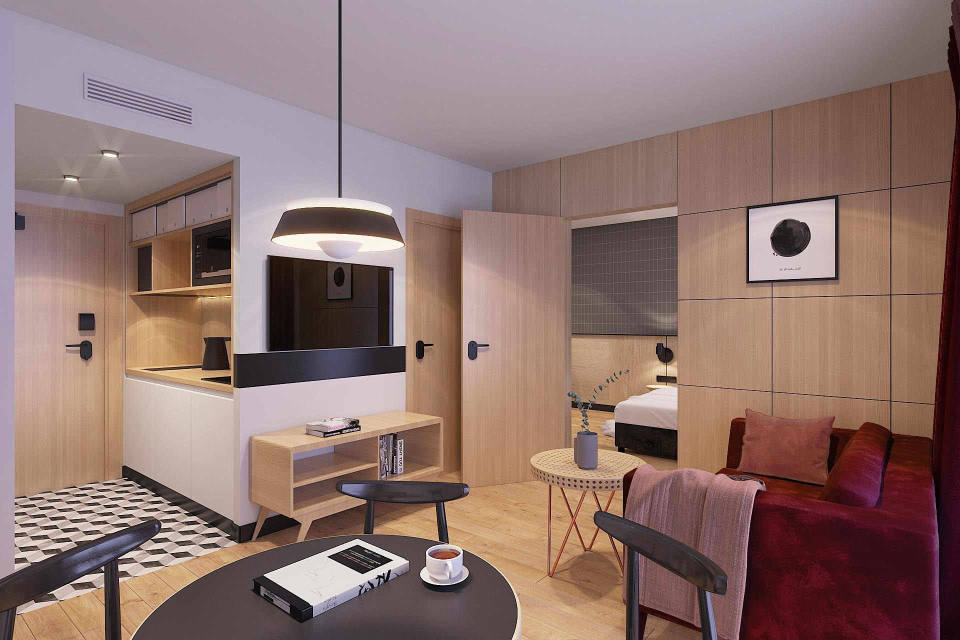 Tulip Residences 3D view of the 2-room apartment living room TV and kitchenette
