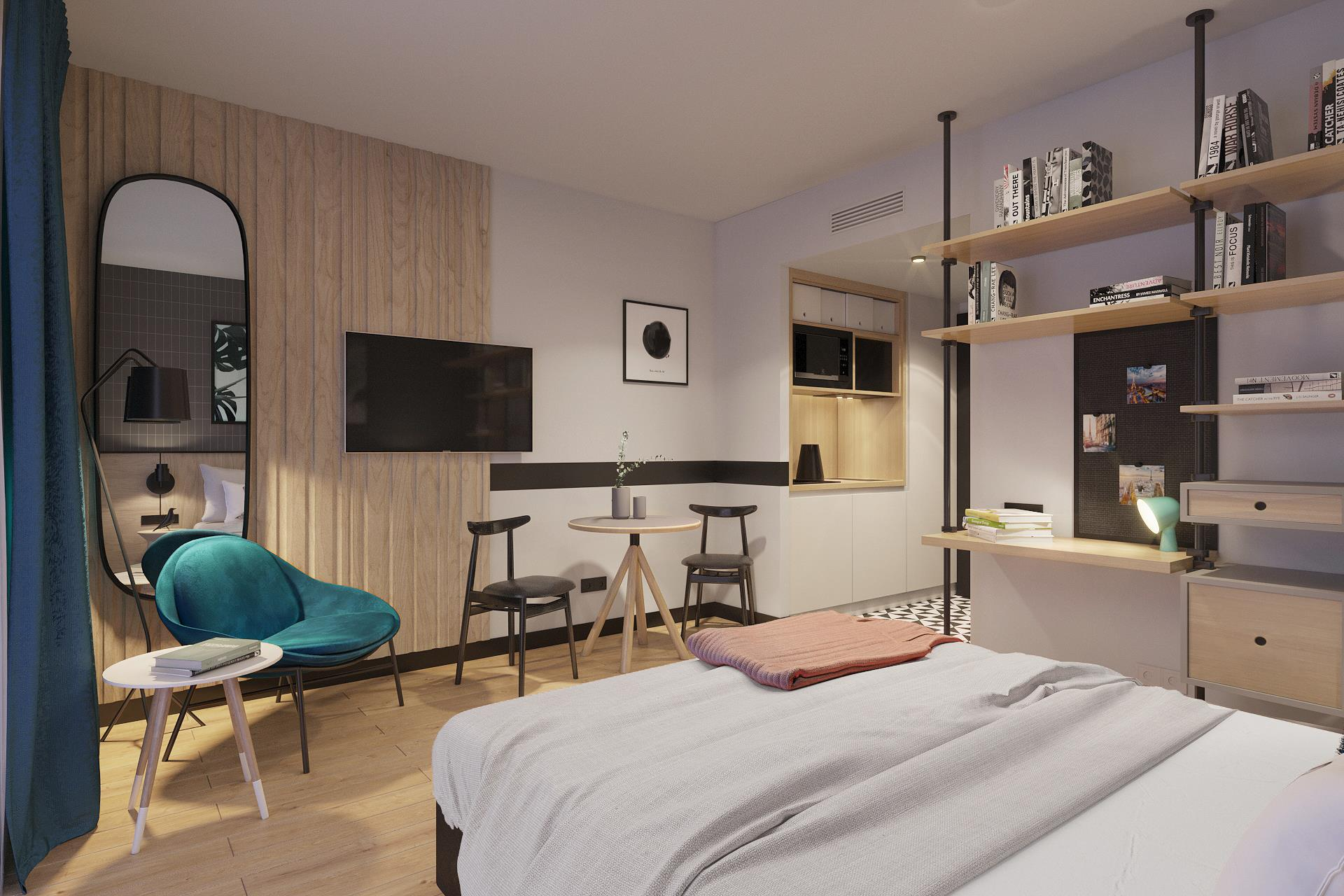 Tulip double studio residences with kitchenette and library