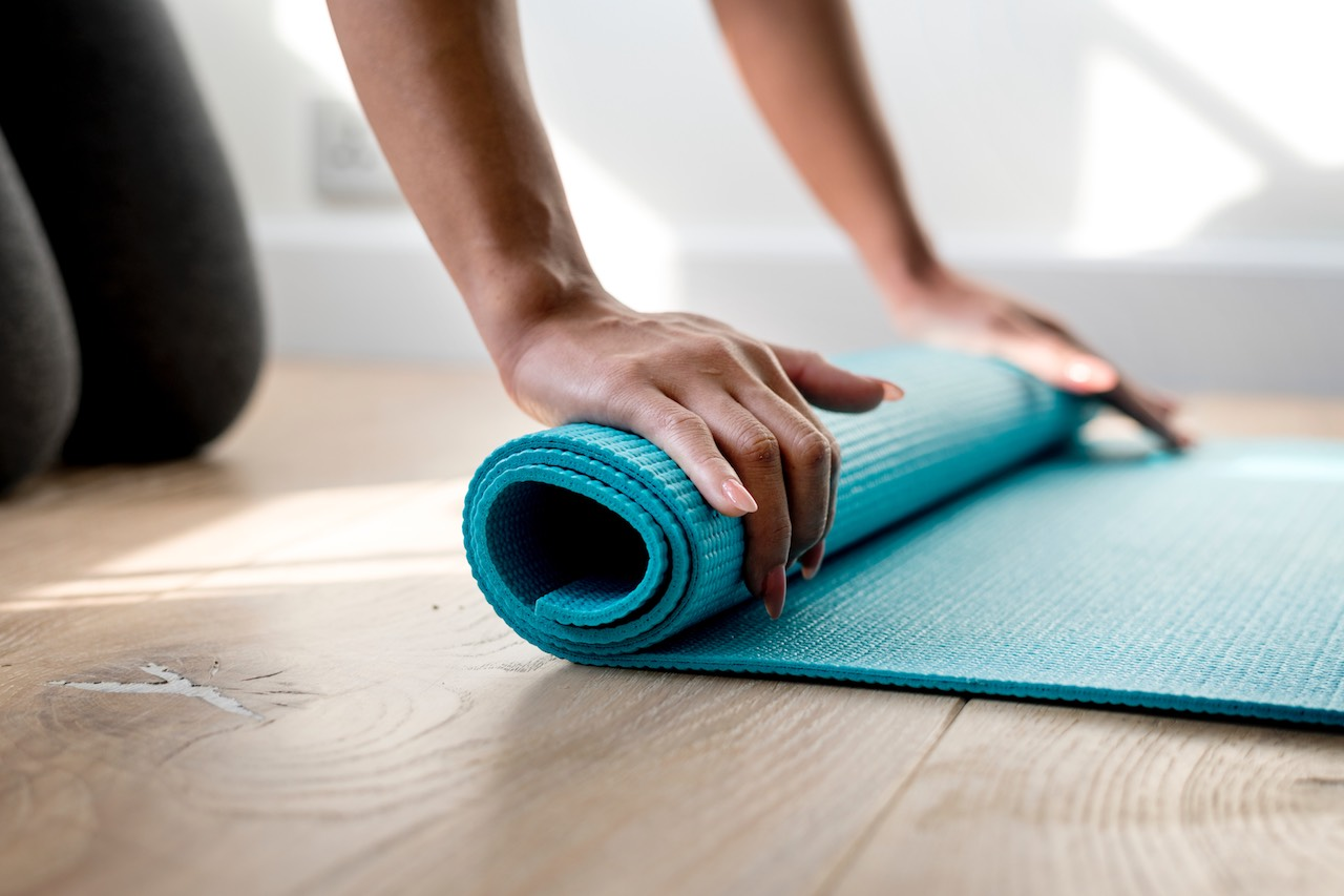 Main sur in floor mat of a Yoga room in the Wellness area of the Tulip residence in Joinville-le-Pont Paris-Est France