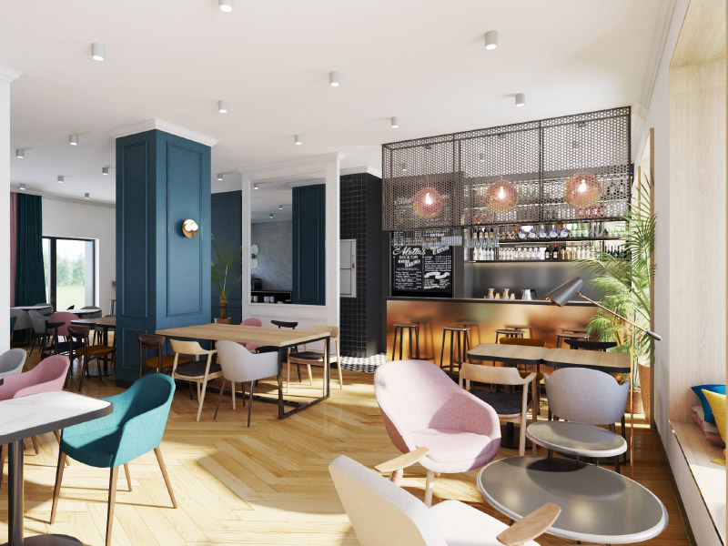 Reception Lounge and Coffee Shop at Tulip Residences in Warsaw
